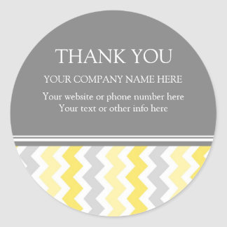Business Thank You Company Name Yellow Chevron Classic Round Sticker