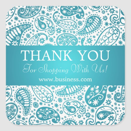 Business Thank You Fashion Paisley Turquoise Square Sticker