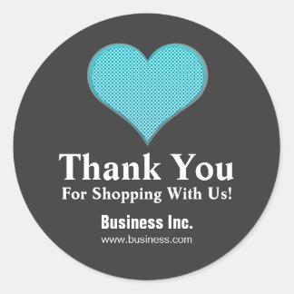 Business Thank You Polka Dot Heart Blue Round Sticker