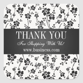 Business Thank You Salon Floral Black Square Sticker