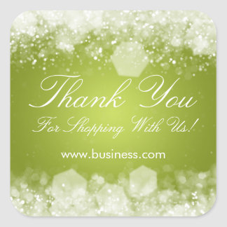 Business Thank You Sparkling Night Green Square Sticker