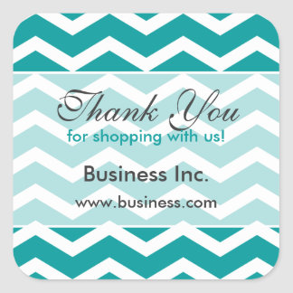 Business Thank You Teal Chevron Pattern Square Stickers
