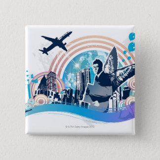 Business Travel 15 Cm Square Badge