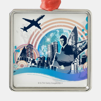 Business Travel Silver-Colored Square Decoration