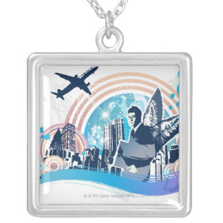 Business Travel Silver Plated Necklace