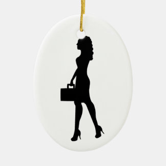 Business Woman Ceramic Oval Decoration