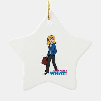 Business Woman - Light/Blonde Ceramic Star Decoration