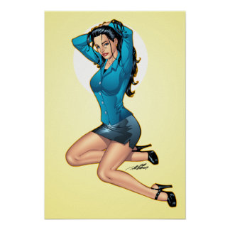 Business Woman Pulling Her Hair Up and Ready to Go Poster