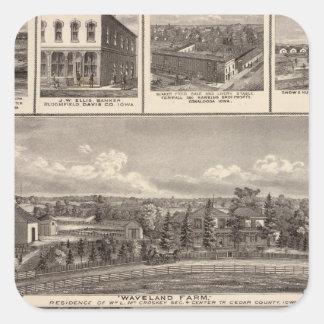Businesses, residences, Cedar County Square Sticker
