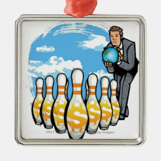 Businessman bowling a globe towards money pins christmas ornament
