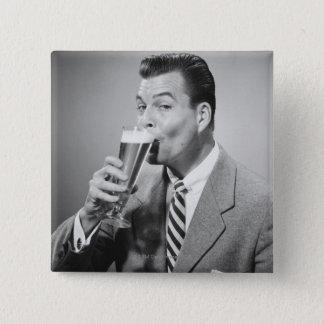 Businessman Drinking Beer 15 Cm Square Badge