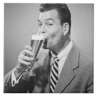 Businessman Drinking Beer Large Square Tile