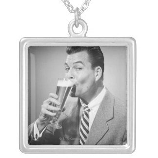 Businessman Drinking Beer Square Pendant Necklace