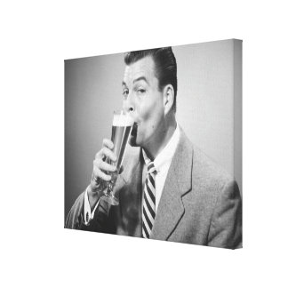 Businessman Drinking Beer Stretched Canvas Print