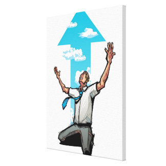 Businessman kneeling, arrow sign in the background gallery wrap canvas
