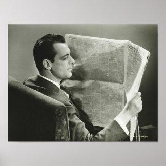 Businessman Reading the Newspaper Print