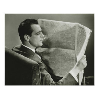 Businessman Reading the Newspaper Posters
