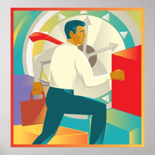 businessman running briefcase stairs clock poster