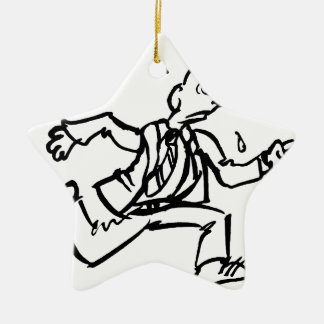 Businessman Running Drawing Christmas Ornament