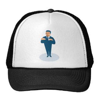 businessman secret agent arms crossed mesh hat