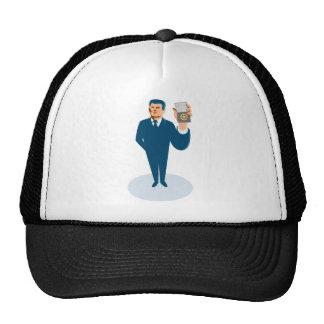 businessman secret agent showing id card badge wal mesh hats