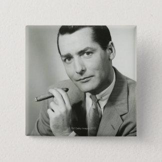 Businessman Smoking Cigar 15 Cm Square Badge