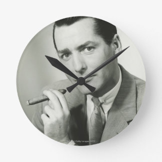 Businessman Smoking Cigar Wallclocks