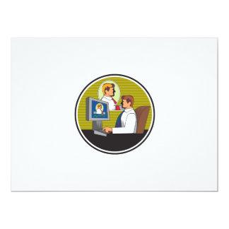 Businessman Video Conference Retro 17 Cm X 22 Cm Invitation Card