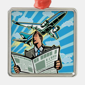 Businessman with newspaper and airplane above christmas ornament