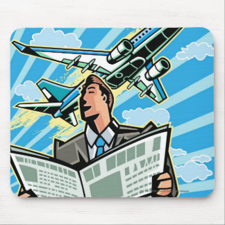 Businessman with newspaper and airplane above mouse mat