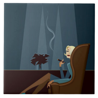 Businesswoman Smoking Cigar Large Square Tile