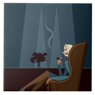 Businesswoman Smoking Cigar Large Square Tile