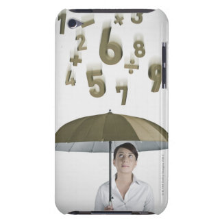 Businesswoman under umbrella with numbers and iPod touch Case-Mate case