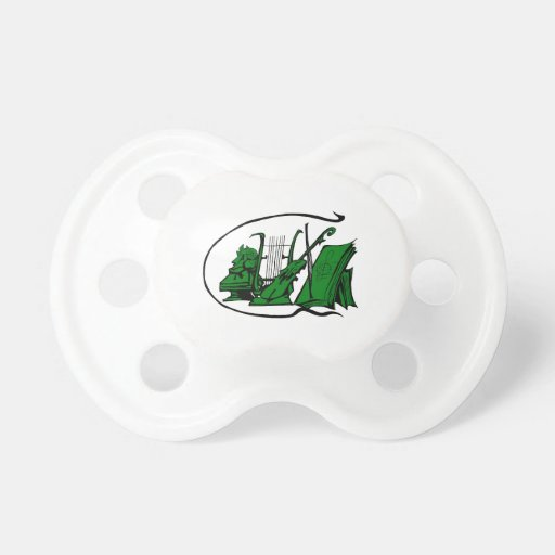 bust green lyre violin sheet music design.png baby pacifier