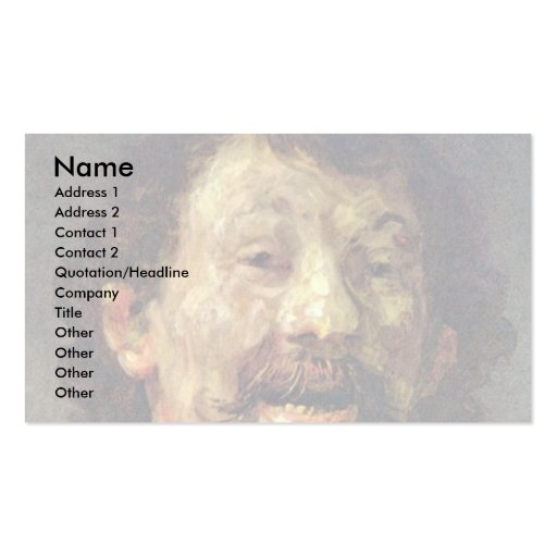 Bust Of A Laughing Man In.,  By Rembrandt Business Card Template