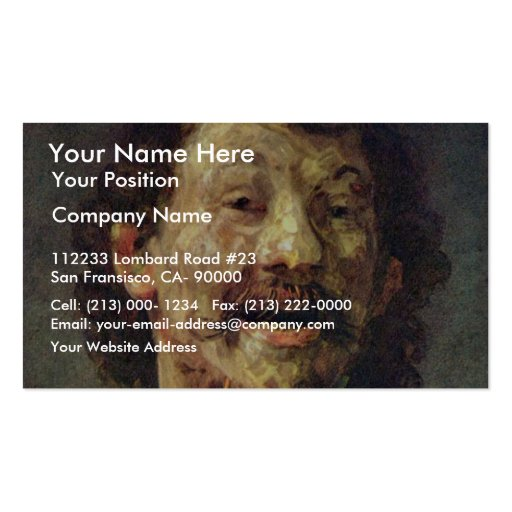 Bust Of A Laughing Man In.,  By Rembrandt Business Card Templates