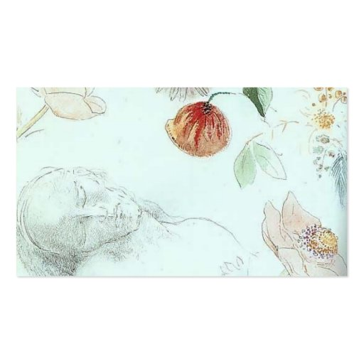 Bust of a Man Asleep amid Flowers by Odilon Redon Business Card Template