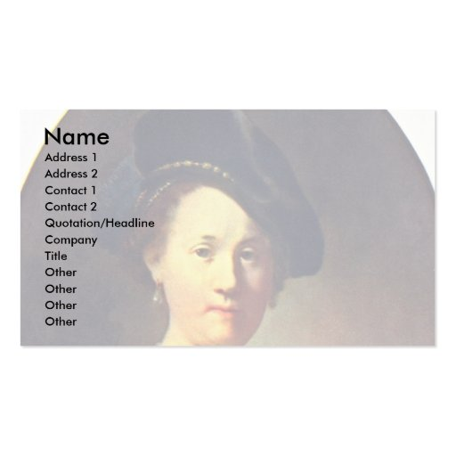 Bust Of A Woman With A Feathered Beret. Business Card Template
