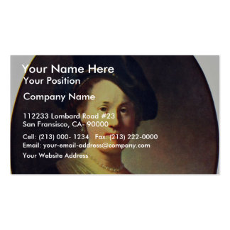 Bust Of A Woman With A Feathered Beret. Pack Of Standard Business Cards