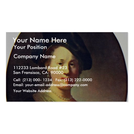 Bust Of A Woman With A Feathered Beret. Business Cards