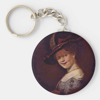 Bust Of A Young Woman Smiling Possibly Saskia Van Basic Round Button Key Ring