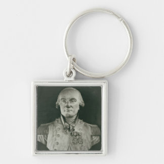 Bust of Charles de Coulomb Silver-Colored Square Key Ring