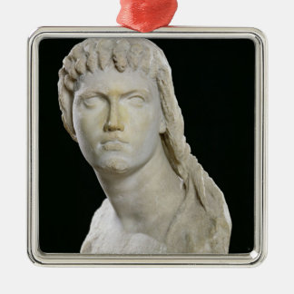Bust of Cleopatra II or her daughter Silver-Colored Square Decoration