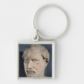 Bust of Demosthenes Silver-Colored Square Key Ring