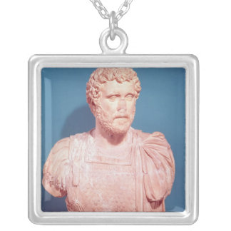 Bust of Emperor Antoninus Pius Silver Plated Necklace