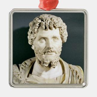 Bust of Emperor Septimus Severus Silver-Colored Square Decoration