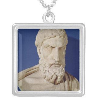Bust of Epicurus Square Pendant Necklace