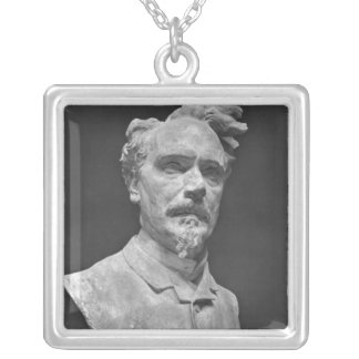 Bust of Henri Rochefort Silver Plated Necklace