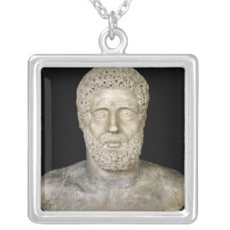 Bust of Hercules Silver Plated Necklace