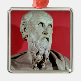 Bust of Hesiod Silver-Colored Square Decoration